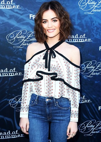 blouse off the shoulder top lucy hale