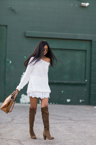 walk in wonderland blogger bag jewels off the shoulder sweater knee high boots white