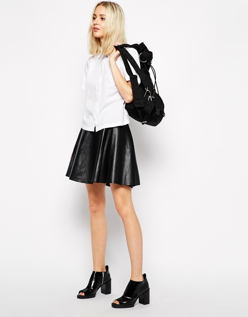 Weekday Leather Mini Skirt at asos.com