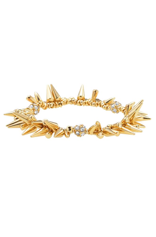 Silver or Gold Spike & Pave Beaded Bracelet | Renegade Cluster Bracelet | Stella & Dot