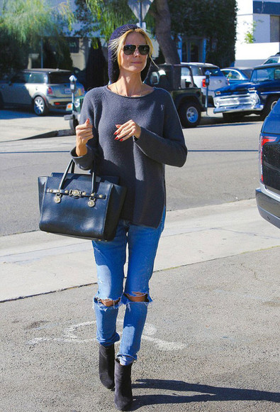 heidi klum fall outfits shoes jeans sunglasses bag
