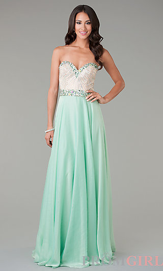 Sherri Hill Strapless Prom Dresses, Beaded Evening Gown -PromGirl