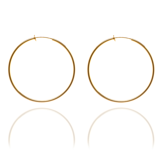 Sexy Spring Loaded Gold Tone Hoops - 5.5cm