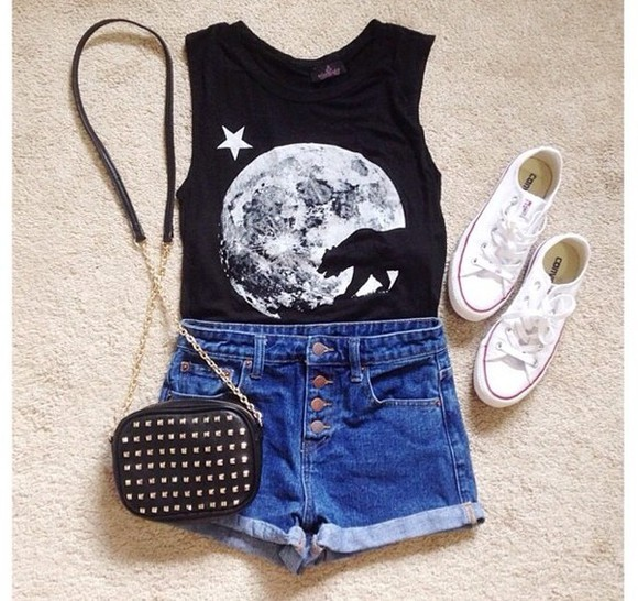 shoes black converse sneakers bag denim shorts top shorts white purse clothes style outfits moon studs