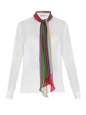 blouse chiffon blouse chiffon rainbow silk white print top