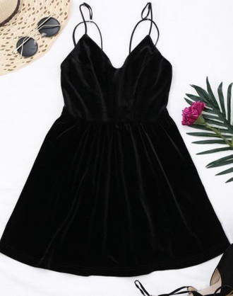 dress girly black black dress velvet dress velvet skater skirt