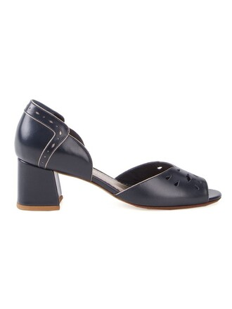 heel chunky heel women pumps blue shoes