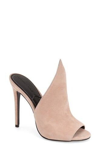 shoes nordstrom mules suede shoes party shoes classy nude heels nude shoes peep toe heels kendall + kylie label pale