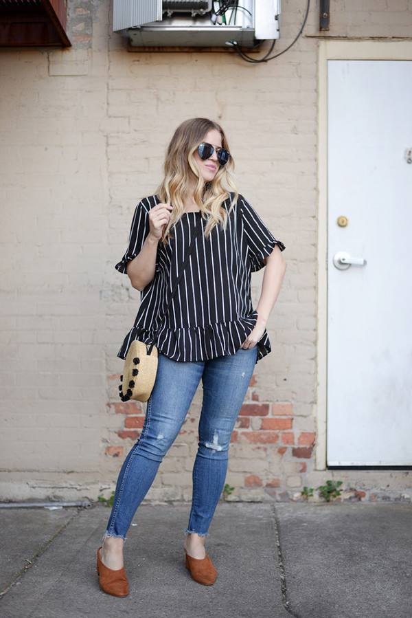 jeans denimt ops top stripes bag shoes sunglasses