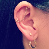 jewels,earrings,industrial piercing,ear piercings,chain,industrial,industrial earring,gold chain,helix piercing