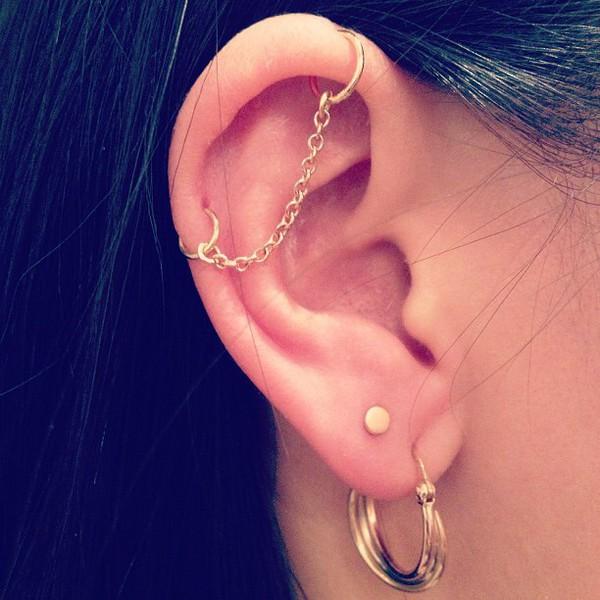 jewels earrings industrial piercing earrings ear piercings chain industrial industrial earring gold chain helix piercing