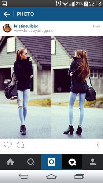 bag black jacket jeans