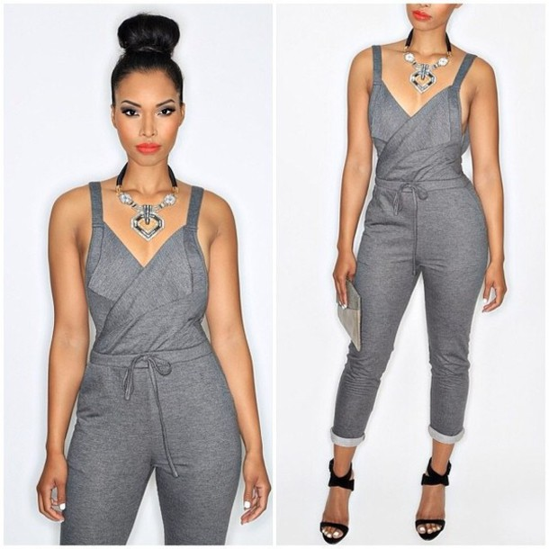 2f970affc69a pants jumpsuit overalls sweatpants grey jumpsuit grey jumpsuit shortsleeve  romper
