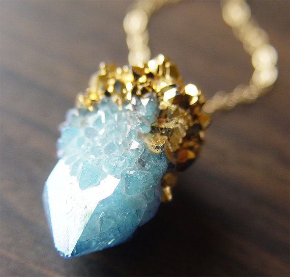 RSpirit Aqua Aura Quartz Drusy Gold Dipped by friedasophie on Etsy