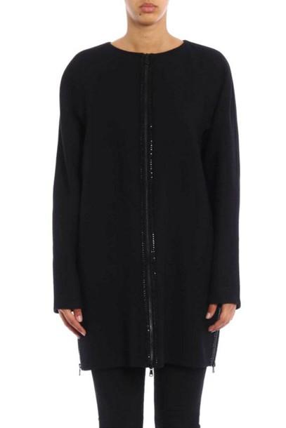 Ermanno Scervino coat wool coat rhinestones wool black