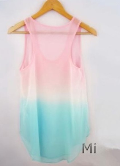 white top see through blue pink cute fashion style tank top tie dye dip dyed dip dye colors light summer summer outfits beautiful lookbook