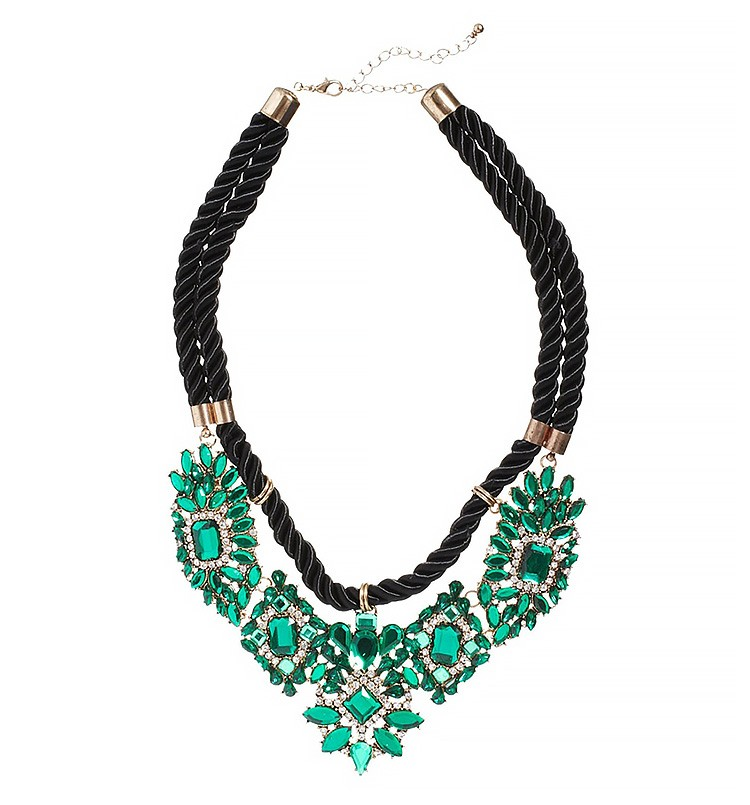 Statement Necklace With Green Diamante Clusters