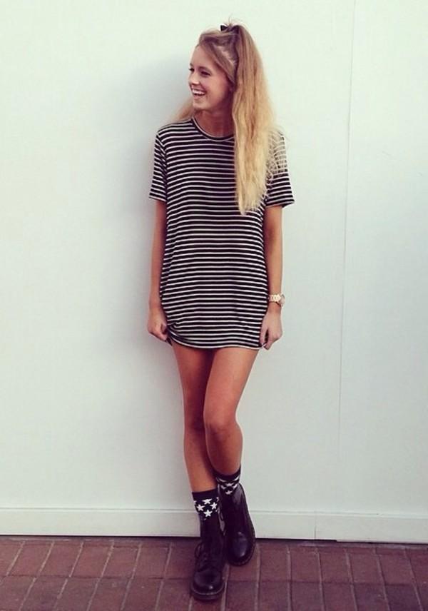 t-shirt t-shirt spring top fall outfits stripes black white