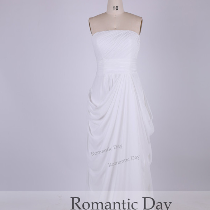 Prom dress chiffon dress beach wedding dress custom made for Simple cream wedding dresses