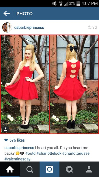 dress red charlotte russe heart open back dresses cardigan