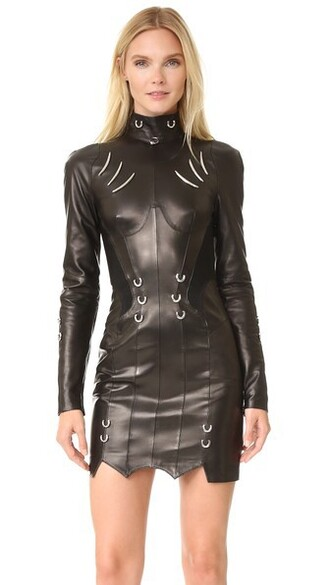 dress leather dress long leather black