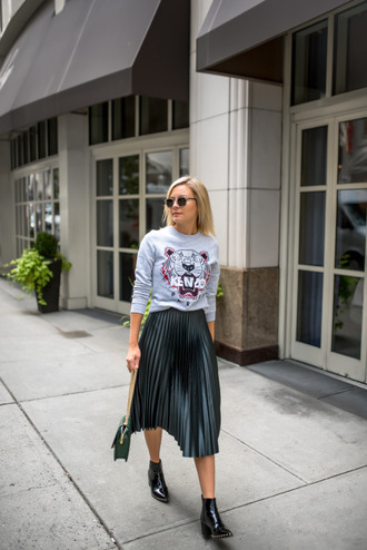 sweater kenzo kenzo sweater grey sweater midi skirt pleated skirt forest green back to school metallic pleated skirt fall outfits ankle boots pointed boots