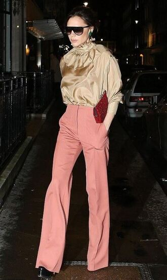 blouse pants victoria beckham high waisted fall outfits top bag