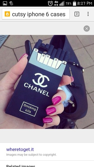 phone cover black and white case chanel smoking kills