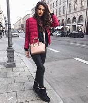 jacket,gold bag,puffer jacket,quilted,red jacket,sweatshirt,black top,top,leggings,black leggings,leather leggings,boots,flat boots,black boots,bag,givenchy,givenchy bag,crossbody bag