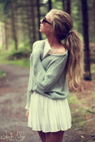 sweater clothes dress grey sweater fine knit jumper blouse girly skirt grey cute ponytail brandy white weheartit tumblr xoxo vintage fashion off the shoulder knitwear jumper adorable outfit cozy winter sweater casual pretty hipster blue mint trendy