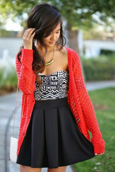 aztec jacket cardigan crop tops black and white redcardigan blackskirt
