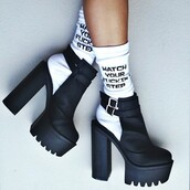shoes,platform heels,chunky,cut-out,blvack,platform shoes,boots,cut out ankle boots,socks