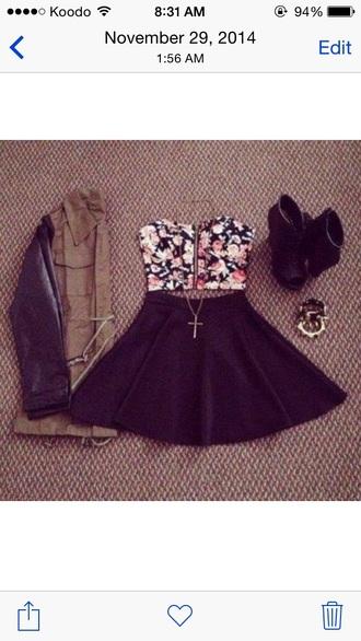 dress floral dress black dress black skirt floral top