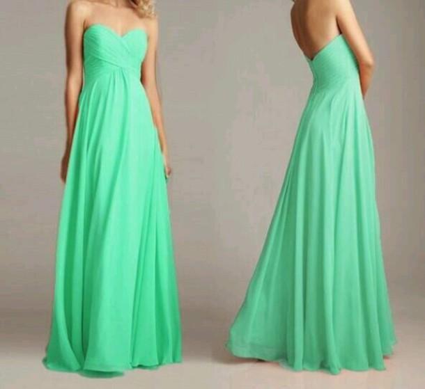 dress light green mint green light green strapless prom