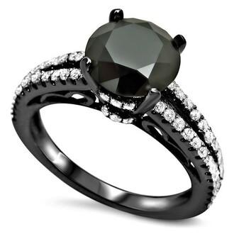 jewels round cut black diamond ring white and black diamond ring gorgeous 1.70 ct black round cut cubic zirconia engagement ring with white round cz evolees.com