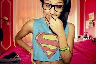 shirt superman girl pretty