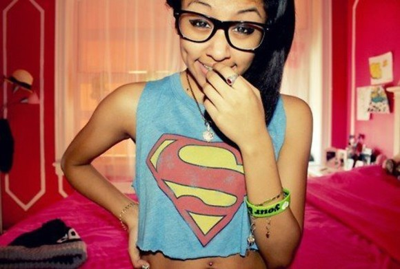 shirt superman girl pretty