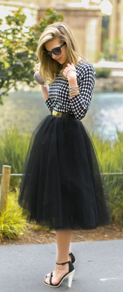 black skater skirt skirt fashion style high heels tulle skirt checkered skirt