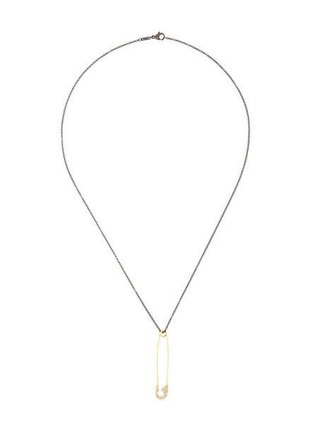 Ileana Makri women necklace pendant gold black jewels