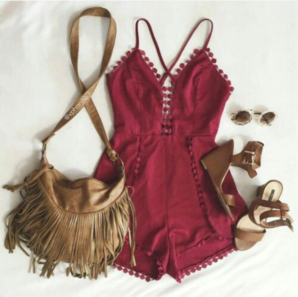 Romper burgundy tumblr girl weheartit tumblr tumblr outfit boho boho chic indie ...