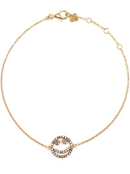 women smiley charm bracelet gold white jewels