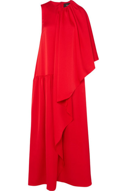 gown draped red dress
