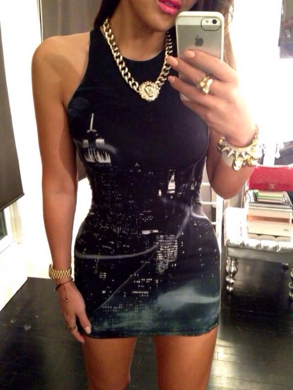 dress short tight nightlife printed city city new york city black little black dress bodycon bodycon dress