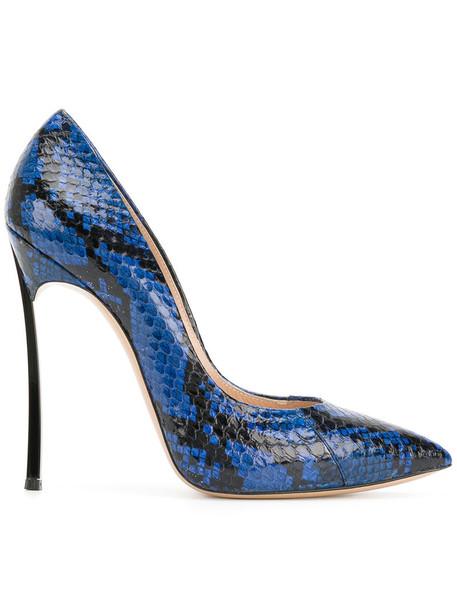 CASADEI snake women king pumps leather blue shoes