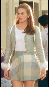 cardigan,clueless,cher horowitz,90s style,90's fashion,90's look,90s skirt,fashion,fall outfits