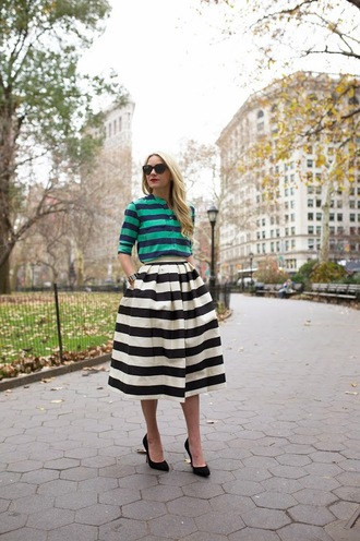 atlantic pacific blogger sunglasses midi skirt striped skirt striped shirt