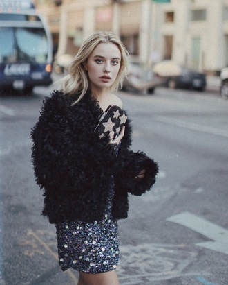 class is internal blogger fluffy fuzzy jacket winter jacket party outfits birthday dress party dress glitter dress stars blonde hair sequin dress one shoulder our favorite dresses 2015