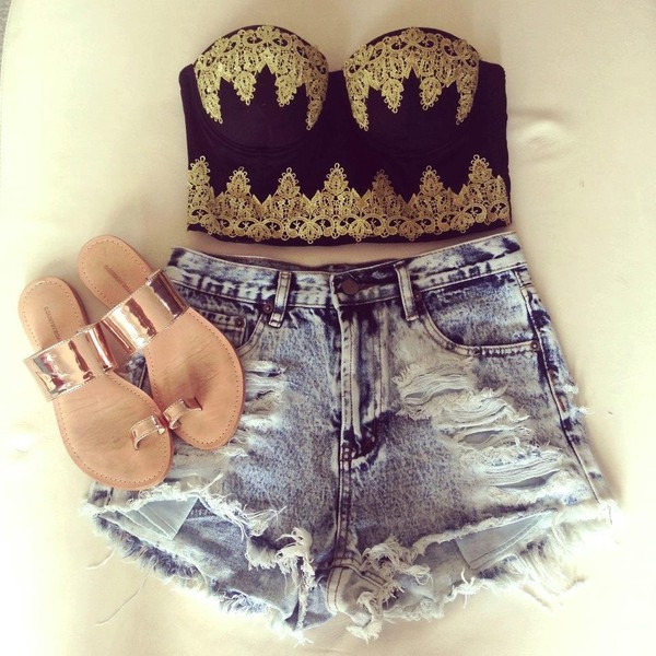 shirt top corset top shorts High waisted shorts summer gold black ripped shoes