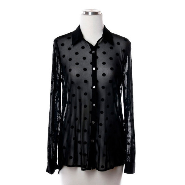 blouse noir spot spotted polka dots sheer makeup table vanity row dress to kill rock vogue