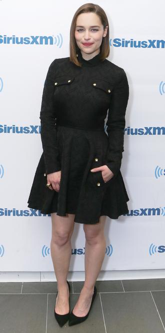 dress black dress emilia clarke pumps shirt dress